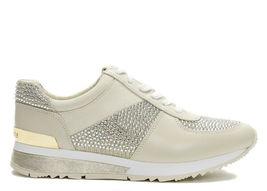 Michael Kors MK Women's Allie Wrap Trainer Glitter Sneakers Shoes Pale Gold image 3