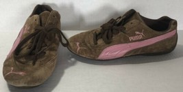 PUMA WOMEN'S SUEDE FLATS SNEAKERS SIZE 6.5 BROWN PINK  - $17.60