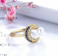 1.30Ct Natural Pearl Crescent Moon Diamonds Adjustable Ring 18K Yellow G... - $63.70