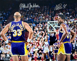 Kareem Abdul-Jabbar & Magic Johnson Dual Signed Los Angeles Lakers 16x20... - £267.41 GBP