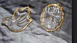 Glass Candy Dish with Gold Trim AA18 - 1176 Pair of Vintage image 3