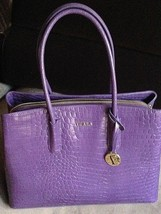NEW Furla Tessa Aubergine Croc Embossed Tote Satchel Bag - $450.00