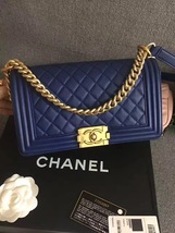 AUTHENTIC NEW CHANEL 2016 LE BOY BLUE LAMBSKIN ... - $4,999.99