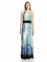 Sangria Dress Sz 16 Black Blue Multi Color Halter Maxi V Neck Casual Dinner - $39.53