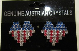 PATRIOTIC USA  RED WHITE & BLUE RHINESTONE HEART FLAG PATTERN PIERCED EA... - $13.95