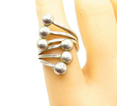 925 Sterling Silver - Vintage Shiny Ball End Bypass Band Ring Sz 7 - R13658 - $29.28