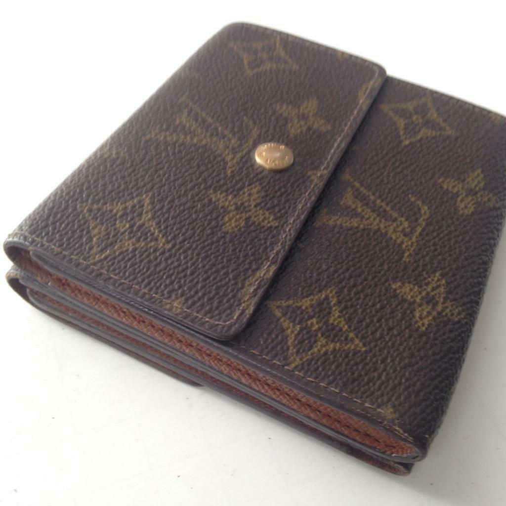 Primary image for Louis Vuitton Mono Brown Elise Compact Tri-Fold Wallet 4in x 4in (SP0943)
