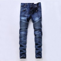 Fashion small straight jeans for men top paint skinny jean mens long pan... - $64.26