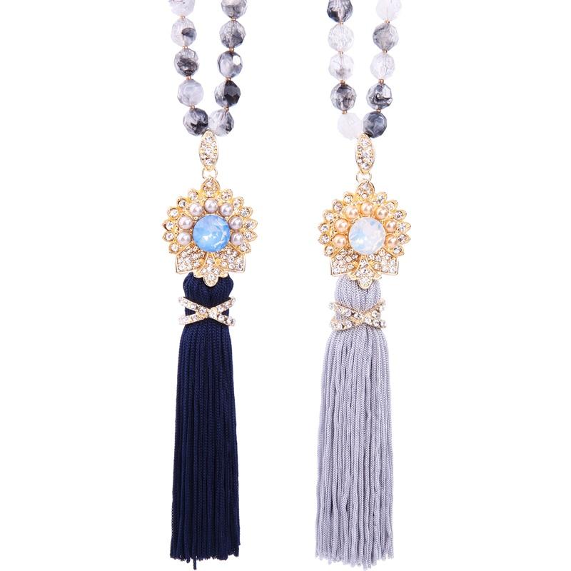 Blue & Gray Crystal Flower Tassel Necklace Pendant Women Long Acrylic Beads