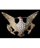 Vintage Great Seal American Eagle Rhinestone Brooch Pin - $19.50