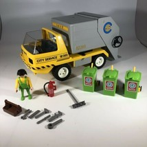 VTG Playmobil 3780 Garbage Truck City Services Figure Tools Recycle Tras... - $49.49
