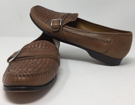 Cole Haan Brown Woven Leather Strap Loafers Shoes Sz 11.5 M Slip On Casual - $48.70
