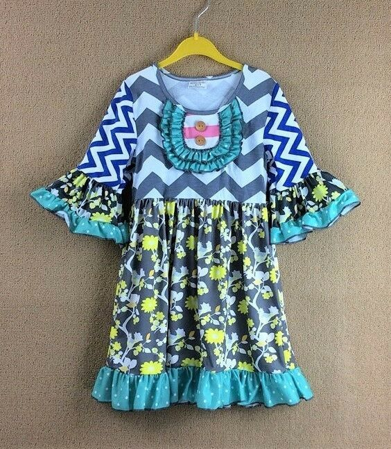 Primary image for NEW Girls Boutique Ruffle Chevron Floral Gray 3/4 Sleeve Dress 4-5 5-6 6-7