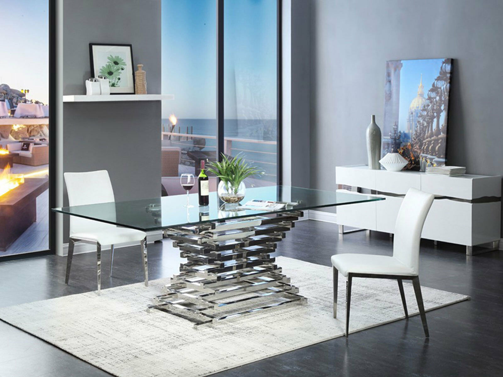 glass dining room table set arietta 7 piece modern dining room set rectangular glass top metal table chairs dining sets 746
