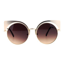 Womens Round Cateye Sunglasses Oversized Metal Wing Top Frame - $10.95