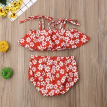 Toddler Baby Girl Clothes Summer 2019 Infant Girl Floral Ruffle Spaghetti Straps image 3