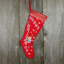 Vintage Angel Tree Stocking Merry Christmas Fabric Flannel Candy Cane St... - $29.69