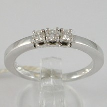 White Gold Ring 750 18k, Trilogy 3 TOTAL CARAT DIAMONDS 0.18 Square Shank image 1