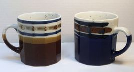 Ceramic coffee tea mugs multi-sided shaped blue... - $12.00