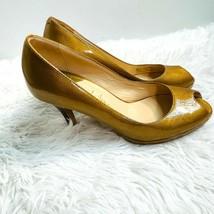 Cole Haan Gold Peep Toe Pumps Size 6.5 - $25.71