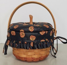 """Longaberger 1997 Small Pumpkin Basket Combo w Lid and liner Approx 6x5"""" - $48.51"""