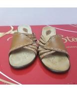 CLARKS Women's Brown Stitch Trim Leather Comfort Slides Sandals #75273  ... - $20.78