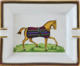 'Hermes Equestrian Horse Stripe Blanket French Porcelain Ashtray' - $750.00