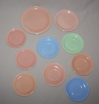 10 Pieces Pacific Dura-Rim Lily of the Valley Peach Green Blue Plates Sa... - $12.82