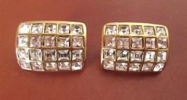 Vintage Clip Earrings Gold Tone/ Rhinestone Multiple Squares - $35.53