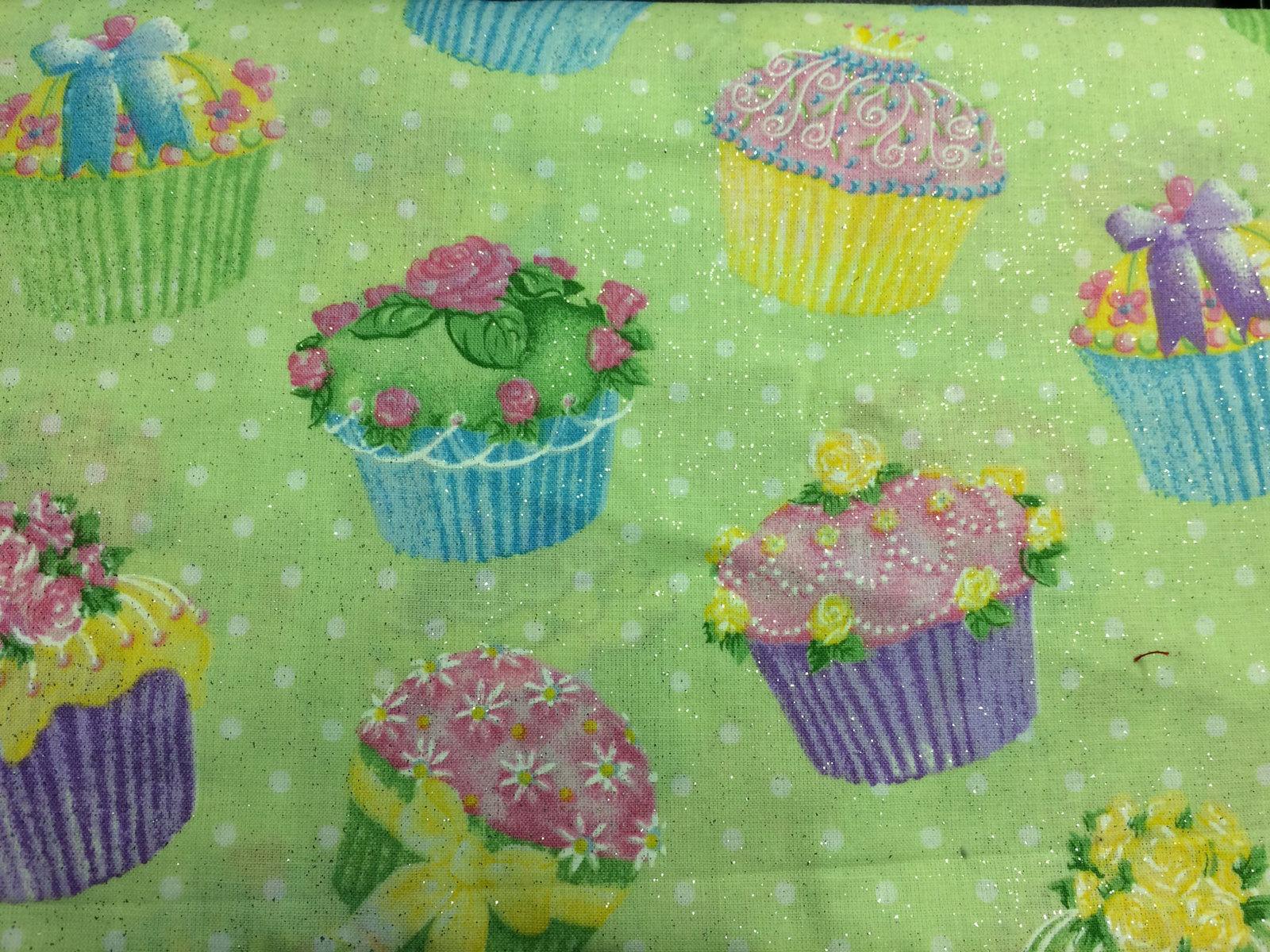 Glittery Cupcakes Print 100% Cotton Fabric