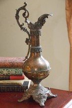 ANTIQUE COPPER SILVERPLATE CAST IRON EWER ORNATE CHERUB FOOTED BRADELY &... - $149.99