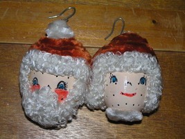 Vintage Lot of Handmade Curly Haired Mr. & Mrs. Santa Claus Head Christm... - $12.19