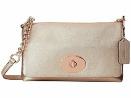 NWT Coach 53236 Metallic Crossgrain Leather Crosstown Crossbody L Rose Gold - $166.99