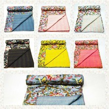 Indian Handmade Queen Cotton Kantha Quilt Throw Blanket Bedspread Gudari - $64.99