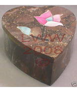 Heart-shape in-laid Floral Soapstone Trinket Box- NEW - $4.99