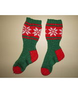 Christmas Socks Handmade Knitted Red and Green - $10.00