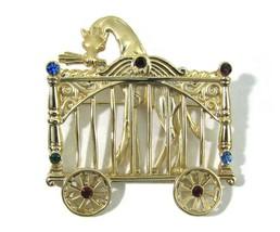 Gold Giraffe Rhinestones Brooch Circus Carriage Wagon Signed AJC Vintage... - $29.65