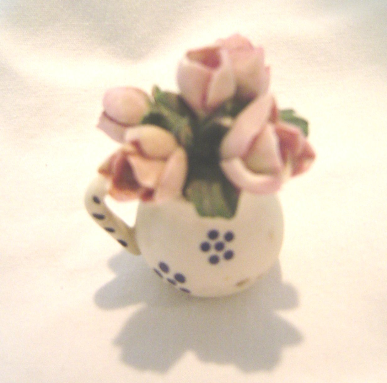 Primary image for  Vintage Miniature Pitcher with Bunch of Tulips Ceramic