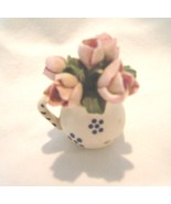Vintage Miniature Pitcher with Bunch of Tulips Ceramic - $14.99
