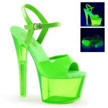 """PLEASER Sexy Stripper Dancer Clubwear 7"""" High Heel UV Reactive Neon Gree... - $59.95"""