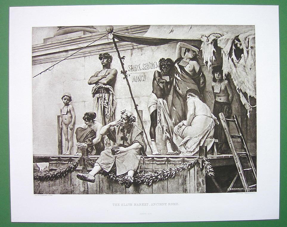 NUDE Rome Slave Market !! VICTORIAN Photogravure ...