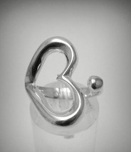 R001291 Sterling Silver Ring Solid 925 Heart Adjustable Size - $15.60