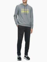 Calvin Klein Linear Logo Drawstring Hoodie, Gray XXL - $39.59