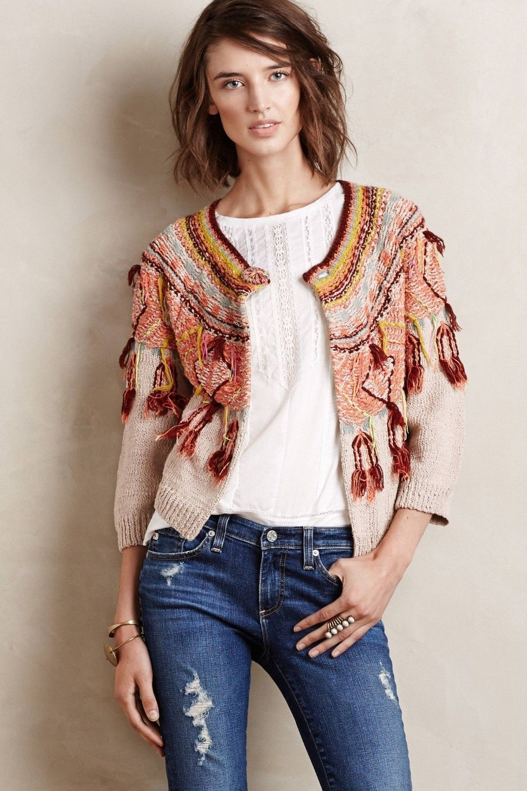 Primary image for NWT ANTHROPOLOGIE GUAJAVA FRINGED CARDIGAN SWEATER by MOTH M