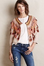 NWT ANTHROPOLOGIE GUAJAVA FRINGED CARDIGAN SWEATER by MOTH M - €49,89 EUR
