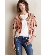 NWT ANTHROPOLOGIE GUAJAVA FRINGED CARDIGAN SWEATER by MOTH M - £48.29 GBP