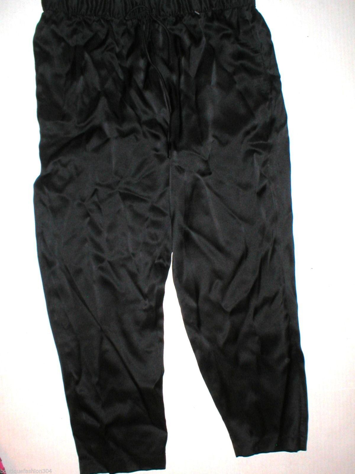 New NWT $195 Medium Designer Josie Natori Silk Pants Black Key Crop Capri Lounge