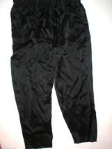New NWT $195 Medium Designer Josie Natori Silk Pants Black Key Crop Capri Lounge image 1