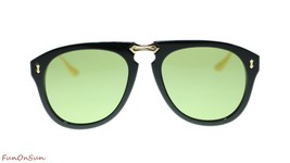 NEW Gucci Men's Sunglasses GG0305S 001 Black Gold Green Lens 56mm Authentic - $412.25