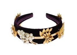 Purple Velvet Gold Brass Pearl Crystal Headband - $655.00
